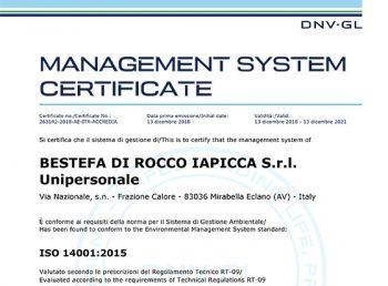 certificazione UNI EN ISO 15001:2015